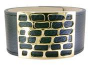 Ladies Stainless Leather Cuff with Gold Ion Plating