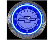 Chevy Chrome Finished Neon Clock - by Neonetics