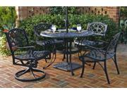 "5-Pc Black Dining Set - 48"" Table and 4 Swivel Chairs - by Home Styles"