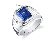 Mens 6.50 Carats Octagon Cut Blue Sapphire Ring In Sterling Silver With Rhodium Finish Size 8, Available Sizes 8 To 13