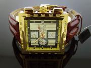 AQUA MASTER 40MM SQUARE 20 DIAMONDS YELLOW GOLD WATCH