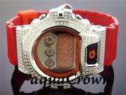 Men's Casio G Shock CZ white crystal Watch RED
