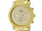 NEW MENS JUST BLING YELLOW GOLD FACE 16 DIAMONDS WATCH