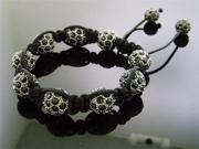 Big Black Bead CZ Shamballa Bracelet 12MM With Disco Ball