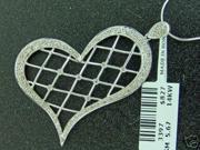 14K White Gold Heart Pendant W/ 0.43 CT Diamond W Chain