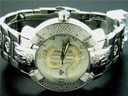 Aqua Master Large Round 20 Diamonds SS Watch with Dollar Sign