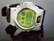 Casio G Shock 3.50Ct Full Case White diamonds Green Face & Black Band Watch