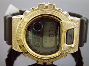 New Casio G Shock 2.50 Ct Full Case canary diamonds Gold tone case black face