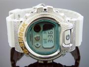 New Casio G Shock 2.25 Ct Full Case canary and white diamonds white band