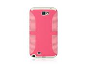 Samsung Galaxy Note 2 EZ-Grip Hybrid Case Hard Plastic Frame on TPU Silicone Skin (Pink on White)