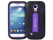 Fosmon HYBO-DT Series Detachable Hybrid Silicone + PC Kickstand Case for Samsung Galaxy S4 mini / GT-I9190 / GT-I9195 (Black / Purple)