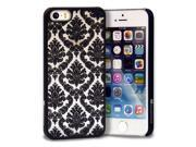 GreatShield TACT Design Ultra Slim Fit [DAMASK Pattern] Protective Hard Rubber Coating Back Case Cover for Apple iPhone 5S / 5 - Black
