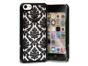GreatShield TACT Design Ultra Slim Fit [DAMASK Pattern] Protective Hard Rubber Coating Back Case Cover for Apple iPhone 5C 2013 - Black