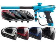 2014 Proto Reflex Rail Paintball Gun & Rotor Combo w/I4 Mask - Cyan/Black