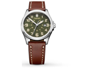 Swiss Army 241309 Infantry Stainless Steel Case Leather Strap Green Dial Date Display