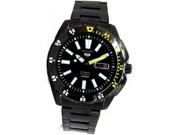 Seiko 5 Sports Automatic Black Dial Black Ion-plated Steel Mens Watch SRP363