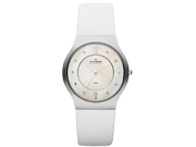 Skagen SKW2027 Gold Tone Stainless Steel Case Leather Strap Mother of Pearl Dial
