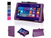 """Evecase SlimBook Leather Folio Stand Case Cover with Magnetic Closure for E-Fun Nextbook 8"""" 16GB Windows 8.1 Quad Core Tablet (NXW8QC16G) (2014 Black Friday Walmart Release) - Purple"""