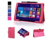 """Evecase SlimBook Leather Folio Stand Case Cover with Magnetic Closure for E-Fun Nextbook 8"""" 16GB Windows 8.1 Quad Core Tablet (NXW8QC16G) (2014 Black Friday Walmart Release) - Hot Pink"""