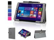 """Evecase SlimBook Leather Folio Stand Case Cover with Magnetic Closure for E-Fun Nextbook 8"""" 16GB Windows 8.1 Quad Core Tablet (NXW8QC16G) (2014 Black Friday Walmart Release) - Gray"""