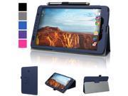 Evecase Verizon Ellipsis 8 Case, SlimBook Leather Folio Stand Case Cover with Magnetic Closure for Verizon Ellipsis 8 4G LTE Tablet (QTAQZ3) 8-Inch 16GB (Verizon Wireless) - Dark Blue