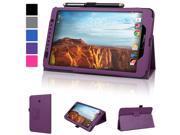 Evecase Verizon Ellipsis 8 Case, SlimBook Leather Folio Stand Case Cover with Magnetic Closure for Verizon Ellipsis 8 4G LTE Tablet (QTAQZ3) 8-Inch 16GB (Verizon Wireless) - Purple