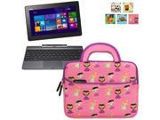 Evecase Asus Transformer Book T100/ T100TAF/ T100T/ T100TA/ T100TAL/ T100TAM Tablet Laptop Sleeve Case, Cute Themed Neoprene Carrying Case Bag w/ Dual Handle and Accessory Pocket- Pink w/ Purple Trim
