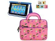 Evecase Vtech Innotab MAX 7 inch Children's Learning Tablet Sleeve Case, Cute Princess Themed Neoprene Travel Carrying Slim Sleeve Case Bag w/ Dual Handle and Accessory Pocket - Pink w/ Purple Trim