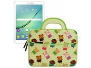 Evecase Samsung Galaxy Tab S2 / Galaxy Tab A 9.7 inch Tablet Sleeve Case, Cute Animal Themed Neoprene Travel Carrying Slim Sleeve Case Bag w/ Dual Handle and Accessory Pocket - Yellow w/ Green Trim