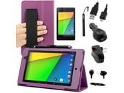 Evecase Auto Sleep/Wake HandStrap Leather Folio Case with Screen Protector. Charger Pack for Google Nexus 7 FHD - 7'' Nexus 7 II / 2nd Generation 2013 Tablet ( Purple Case)