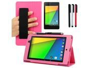 BIRUGEAR Auto Sleep/Wake HandStrap Leather Folio Case with Screen Protector. Stylus Pack for Google Nexus 7 FHD - 7'' Nexus 7 II / 2nd Generation 2013 Tablet ( Hot Pink Case)