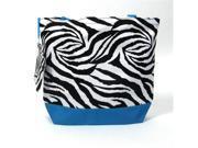 Girl Diaper Bag in Turquoise & Zebra Print
