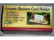 Ceramic Golf Business Card Holder Hand Painted