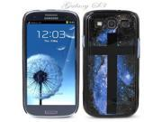 Black Snap-on S3 Phone Cover Case for Samsung Galaxy SIII Phone - BLUE GALAXY WITH CROSS LOGO DESIGN. Height: 5.3 Inches X Width: 2.6 Inches X Thickness: 0.5 Inch.