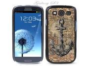 Black Snap-on S3 Phone Cover Case for Samsung Galaxy SIII Phone - ANCHOR IN VINTAGE PIRATE MAP LOGO DESIGN. Height: 5.3 Inches X Width: 2.6 Inches X Thickness: 0.5 Inch.