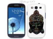 White Snap-on S3 Phone Cover Case for Samsung Galaxy SIII Phone - BLACK BUDDHA HEAD LOGO DESIGN. Height: 5.3 Inches X Width: 2.6 Inches X Thickness: 0.5 Inch.