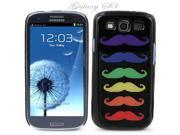 Black Snap-on S3 Phone Cover Case for Samsung Galaxy SIII Phone - GAY PRIDE RAINBOW MUSTACHE BLACK LOGO DESIGN. Height: 5.3 Inches X Width: 2.6 Inches X Thickness: 0.5 Inch.