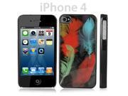 Black iPhone 4 /4S Snap-On Plastic Case w/ Multi Colored Bird Feathers Design