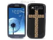 Black Snap-on S3 Phone Cover Case for Samsung Galaxy SIII Phone - LEOPARD SKIN CROSS LOGO DESIGN. Height: 5.3 Inches X Width: 2.6 Inches X Thickness: 0.5 Inch.