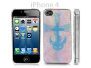 Clear Snap-on Iphone 4 Cover w/ Blue Cross & Anchor & Chain Link Design