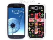 White Snap-on S3 Phone Cover Case for Samsung Galaxy SIII Phone - CROSS WITH FLOWERS BLACK LOGO DESIGN. Height: 5.3 Inches X Width: 2.6 Inches X Thickness: 0.5 Inch.