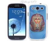 White Snap-on S3 Phone Cover Case for Samsung Galaxy SIII Phone - EGYPTIAN PHARAOH DRAWING LOGO DESIGN. Height: 5.3 Inches X Width: 2.6 Inches X Thickness: 0.5 Inch.