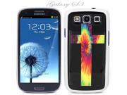 White Snap-on S3 Phone Cover Case for Samsung Galaxy SIII Phone - RAINBOW BURST CROSS LOGO DESIGN. Height: 5.3 Inches X Width: 2.6 Inches X Thickness: 0.5 Inch.