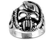 316L Stainless Steel Ring - Biker Ring, Skull, Bones and Snake