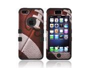 Apple Iphone 5 Plastic Cover Over Silicone - Brown/ White Football