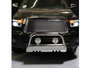 Carpart4U Toyota Tundra 07-10 - 3 Inch Bull Bar T-304 Stainless Steel Polished With 4x4 5 Inch Chrome Housing Fog Lights Package