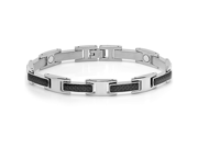 Mens Stainless Steel and Carbon Fiber Magnetic Bracelet 8 inch