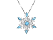 Amanda Rose Collection by MLG Sterling Silver Blue and White Crystal Snowflake Pendant-Necklace with Swarovski Elements