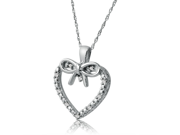 Sterling Silver Diamond Heart and Bow Necklace on an 18inch Chain (1/10ct tw)