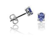 Tanzanite Stud Earrings set in Sterling Silver .65cttw (Real Genuine Tanzanite)